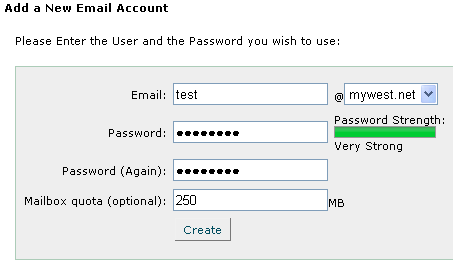 Add new email account cPanel